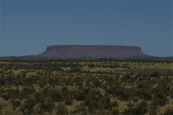 Nope it's another rock on the way to see Uluru called Mt Connor in Central Australia thanks Matt Hutchinson.