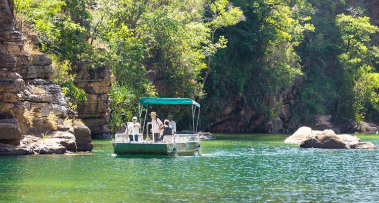 Shuttle boat to ferry you across at Twin Falls in Kakadu National ParkAustralia