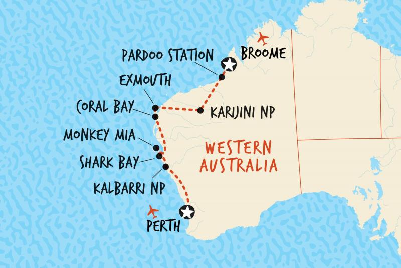 10 Day Perth to Broome map