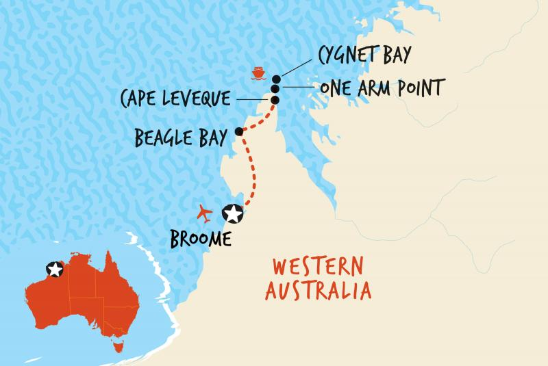 Map f our 2 Day Cape Leveque and Kimberley Coast - Broome to Broome