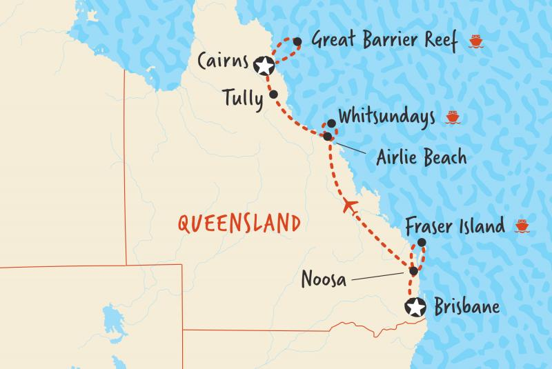 Our map of our 7 day tour in comfort from Brisbane to Cairns