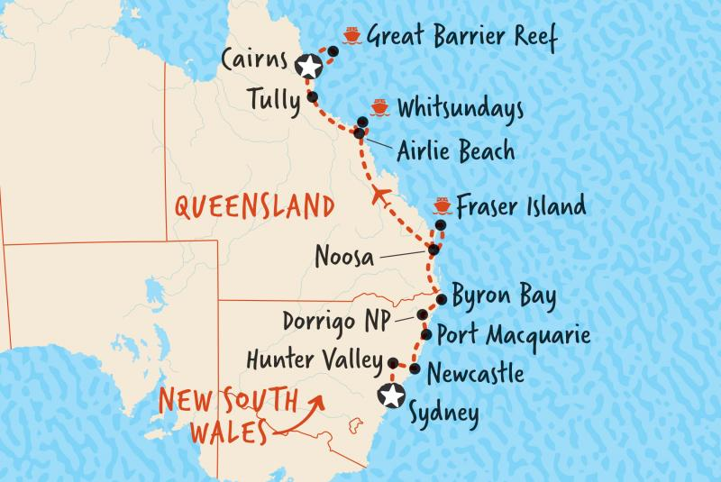 Our map of our 14 day tour in comfort from Sydney to Cairns